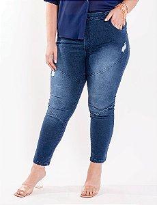 Calça Plus Size Cigarrete Jeans Claro Com Passante Para Cinto Julia Plus
