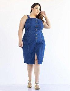 Vestido Jeans Plus Size com Bolsos Fechamento por Botões Julia Plus