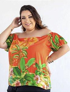 Blusa Ciganinha Plus Size Estampada Julia Plus