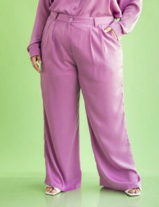 Calça Plus Size Cetim Pantalona Julia Plus