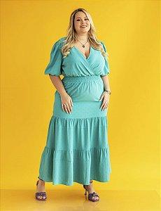 Vestido longo Plus Size Três Marias decote transpassado Julia Plus