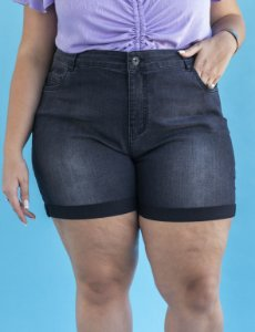 Bermuda Jeans Plus Size Barra Dobrada Julia Plus