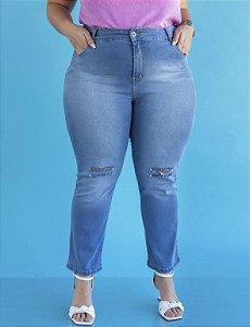 Calça Jeans Plus Size Slim com Puídos Julia Plus