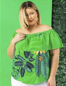 Blusa Plus Size Ombro-a-Ombro Estampada Folhagem Julia Plus