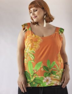 REGATA PLUS SIZE ESTAMPADA ALÇAS LARGAS JULIA PLUS