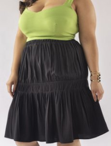 SAIA PLUS SIZE PREGAS E BABADO JULIA PLUS