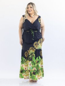 VESTIDO PLUS SIZE LONGO DECOTE TRANSPASSADO JULIA PLUS