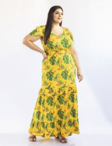 VESTIDO PLUS SIZE LONGO ESTAMPA TROPICAL JULIA PLUS