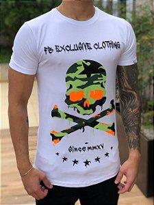 Camiseta Skull Militar White