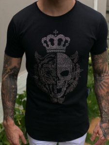 Camiseta Tiger Skull Strass