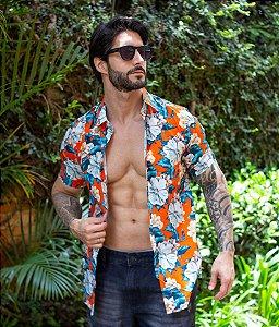 Camisa Floral Laranja
