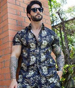 Camisa Floral Marrom & Creme