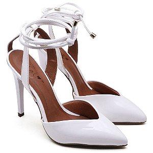 Sapato Scarpin Amarração Branco