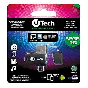 U-TECH PENDRIVE E MEMORIA MICRO SD 32GB OTG 3 EM 1