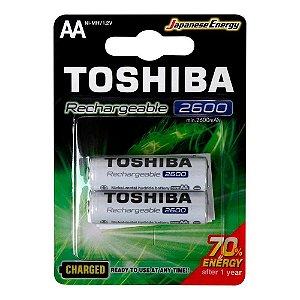 PILHA RECARREGAVEL TOSHIBA  AA 2600MAH COM 2 PILHAS