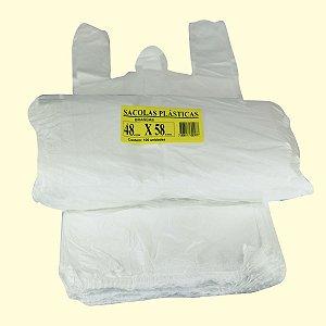 Sacola plástica 48x58cm branca c/100 unid