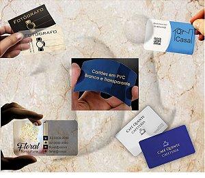 Cartão de visitas 9x5 em PVC Transparente 0,3mm