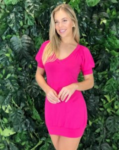 Vestido Aline Decote V Pink