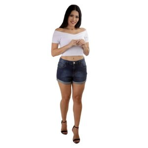 Shorts Jeans Comfort Escuro