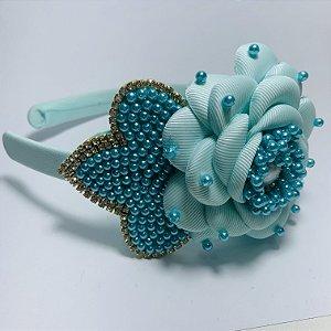 Tiara Flor Perolada Premium Azul