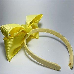 Tiara Laço de Cetim Amarela