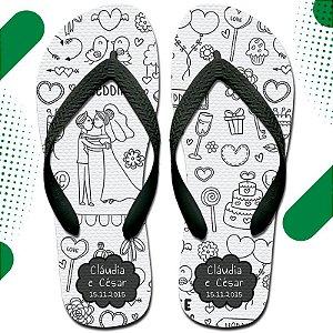 Chinelo com Estampa Personalizada - Brinde Personalizado Ideal para Festa de Casamento e Eventos.