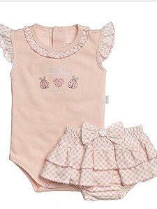 Body Curto Em Suedine Bordado Joaninha E Short Estampado Poá Rosa Para Bebê - Anjos Baby