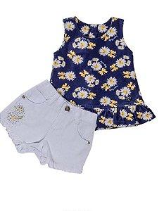 Conjunto para Bebê Bata em Algodão e Short Sarja Branca - Anjos Baby