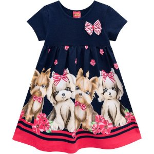 Vestido Infantil Kyly Cotton - cachorrinhos