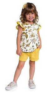 Conjunto Feminino Amarelo com estampa de Passarinhos