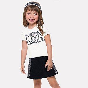 Conjunto Infantil Feminino Blusa + Short-Saia Milon