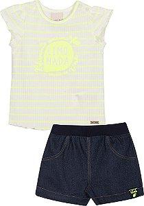 Conjunto Blusa E Short Jeans Limonada