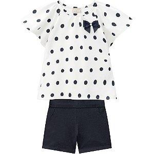 conjunto de blusa e Short, estampa em poá