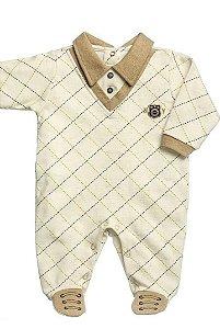 Macacão Longo Para Bebê Em Suedine Estampado Pontinhos Caramelo - Anjos Baby