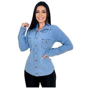 Camisa Jeans Manga Longa