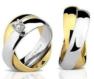 Par de Alianças duplas, anatômicas de Ouro Branco e Dourado 18K-750 polido 23,30g com 1 Diamante de 20pts
