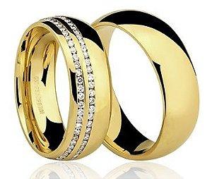 Par de Alianças anatômicas de Ouro Dourado 18K-750 polido 19,30g com 107 Diamantes em 75pts