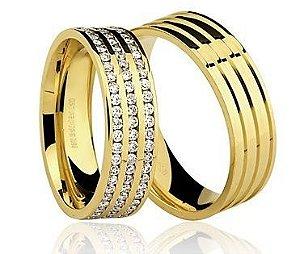 Par de Alianças anatômicas de Ouro Dourado 18K-750 polido 13,60g com 135 Diamantes em 135pts