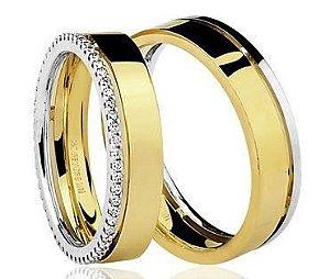 Par de Alianças Brüner anatômicas de Ouro Branco e Dourado 18K-750 polido 13,80g com 52 Diamantes em 31pts