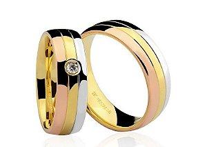 Par de Alianças Brüner anatômicas de Ouro Branco, Dourado e Rosé 18K-750 polido 16,70g com 1 Diamante de 5pts