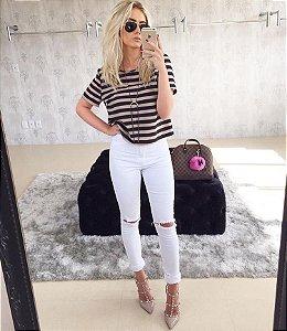 Calça jeans destroyed cintura alta Lady Rock