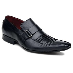 Sapato Social em Couro Preto Legítimo Sola Couro