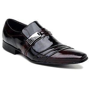 Sapato Social em Couro Verniz Com Degradê em Bordô