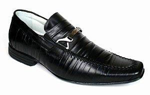 Sapato Preto Masculino em Couro Legítimo