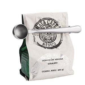 Fechador de Saco Prendedor Inox c/ Colher Medidora