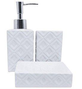 Jogo para Banheiro 3 Peças em Cerâmica Aço Inox