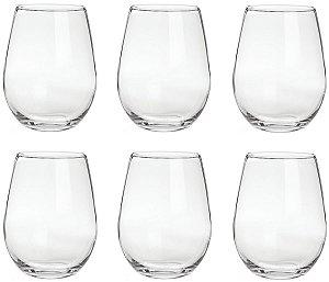 Kit 06 Copos de Vidro Transparente Casa 470 ml