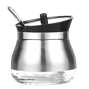Açucareiro e Porta Alimentos c/ Colher em Vidro e Inox