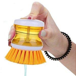 Escova Lava Louças c/ Recipiente e Dispenser de Detergente