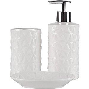 Jogo para Banheiro 3 Peças em Cerâmica Branco